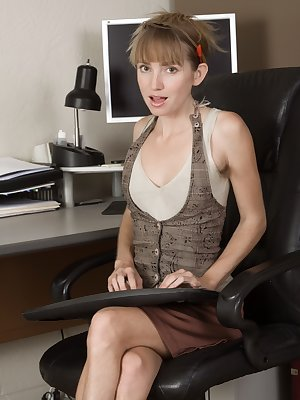 In her office, Rosy Heart is professional but very hairy. Under her skirt lays her hairy pussy and she strips naked to show it off. Her clothes fly off and she lays in bed to show off her hairy pussy.
