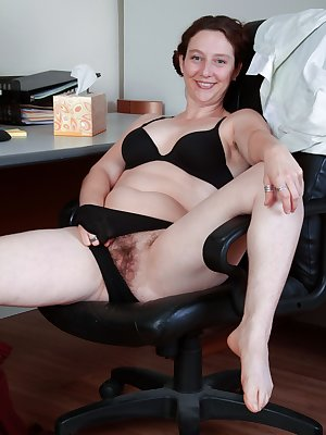 Artemesia is a redhead that gets horny at work as all the men stare at her. She quickly gets undressed to show all her fans her hairy pits and pussy.