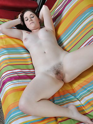 All natural beauty Cerah gets nude on the couch and waves her sexy curvy ass and hairy pussy in the air for all to enjoy!