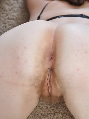 Meg slowly lifts her skirt to reveal her soft curvy body. Without hesitation she pulls her knickers to the side and shows the world her moist hairy pussy