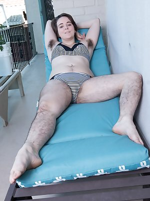Harley is very hairy and she shows her hairy pits, legs, and pussy outdoors. She strips naked and begins to finger her thick hairy bush. She orgasms in total enjoyment and is a hairy beauty to love.