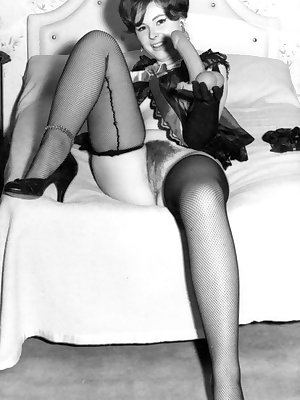 Hot vintage models in stockings showing their hairy beavers in black and white
