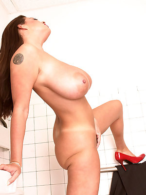 Housewife Linsey Dawn McKenzie takes off all her clothes in a public bathroom