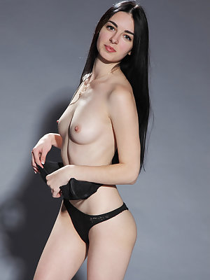 Black haired beauty Benita peels her hot black panties to spread pussy & ass