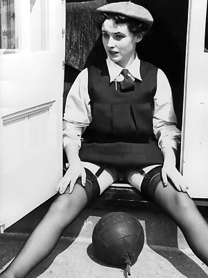 Schoolgirls from another era expose and even toy their natural pussies