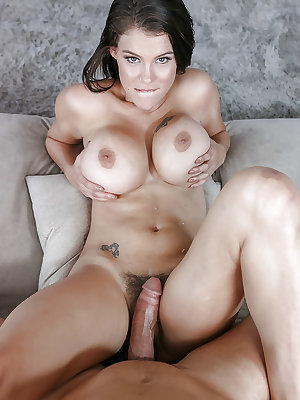 Tattooed beauty Peta Jensen tit fucking cock before fucking of hairy muff