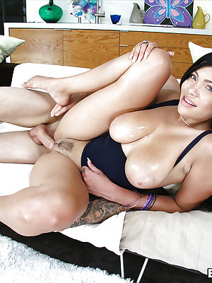 Beautiful Latina babe Cassidy Banks and her big hangers fucked doggystyle