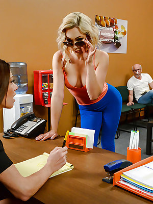 Blonde female Lily Labeau sucking off medical professional behind office doors