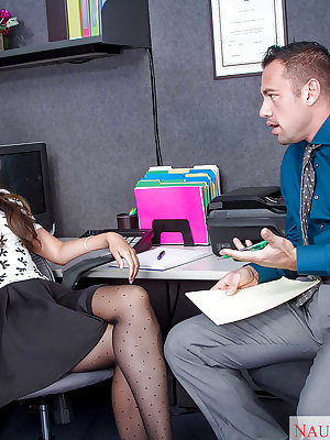Young secretary Allie Haze caught by boss on phone and forced to suck cock
