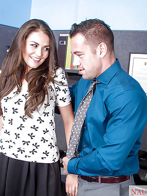 Office slut Allie Haze gives out a wicked blowjob at work cubicle