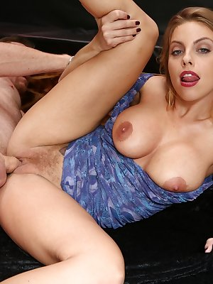 Busty blond wife is ready to show her husband a good time with no panties on