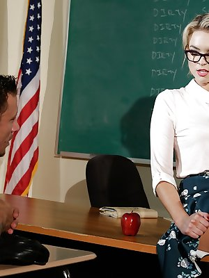 Fishnet stocking adorned teacher Keira Nicole baring beaver for sex on desk