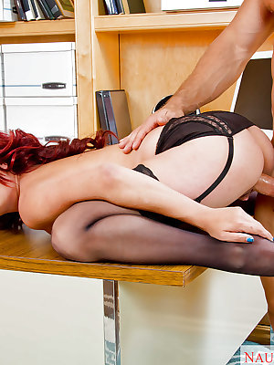 Big tit redhead Ashlee Graham fucking in her office wearing stockings