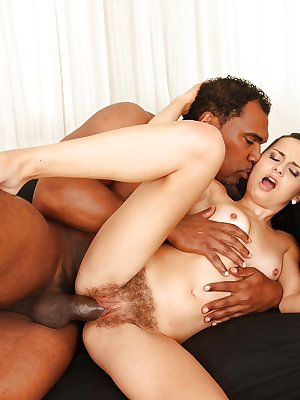 Interracial sex with a hardcore brunette Ashley Woods and black poles