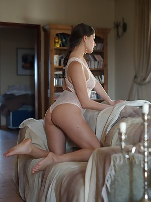 Sultry Francesca Dicaprio peels sheer lingerie to reveal nice tits & hot ass