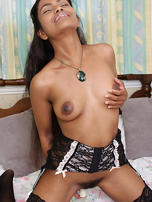 Exotic dark Alishaaa Mae in hot lingerie toys her horny pussy with vibrator