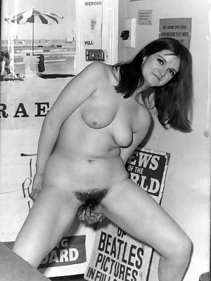 Older vintage porn models showing off their naturally hairy snatches & toying