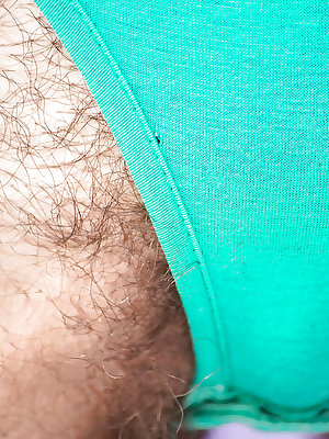 Australian first timer sheds shorts and panties for spreading of hairy cunt