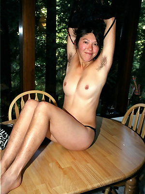 Asian first timer Amanda showing off all natural cunt on dining table