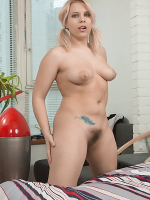 Jill is a great dancer, and dances around in her favorite outfit. She strips it all off and relaxes in bed. She reaches and gets her purple vibrator and masturbates with it deep inside her hairy bush.