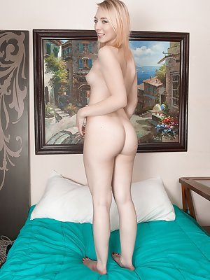 Trillium is wearing her black lingerie while in her blue bed. She poses seductively and strips naked. She has a tight hairy pussy and a sexy figure. Her 21 year-old natural figure is nice in bed today.