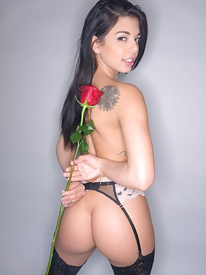 Babe Gina Valentina shows off her fine pussy and ass after a naughty solo