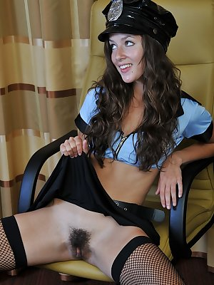 Playful amateur Sophie dressed in a sexy uniform masturbates hard
