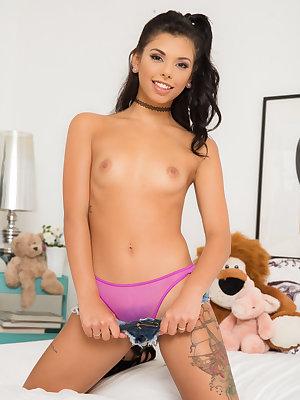 Cute Latina girl Gina Valentina licks big cock & gets fucked among her teddies