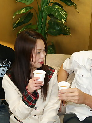 Japanese teen fucks two men in her porn debut after drinking alcohol