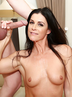 Dark haired female India Summer seduces her man friend after taking a bath