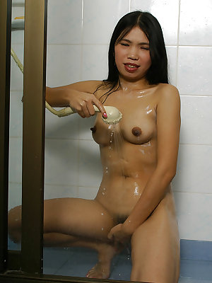 Toying herself wasn't enough so Asian babe Diep had fun in the shower